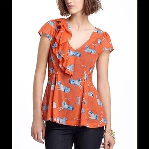 Anthropologie Meadow Rue Animal Kingdom blouse